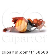 3d Red Business Dragon Surfing