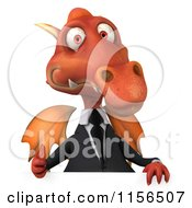3d Red Business Dragon Holding A Thumb Up Over A Sign