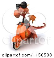3d Red Business Dragon Wearing Shades And Driving A Scooter
