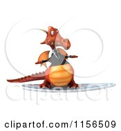 Clipart Of A 3d Red Business Dragon Surfing Royalty Free CGI Illustration