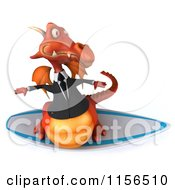 Clipart Of A 3d Red Business Dragon Surfing 2 Royalty Free CGI Illustration