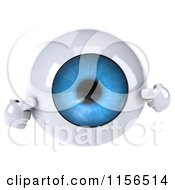 Clipart Of A 3d Blue Eyeball Mascot Pointing To Its Iris Royalty Free CGI Illustration