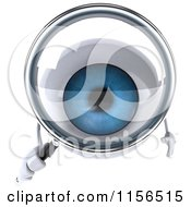 Clipart Of A 3d Blue Eyeball Mascot Using A Magnifying Glass Royalty Free CGI Illustration