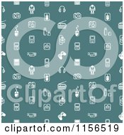 Seamless Pattern Of White Gadet Icons On Teal