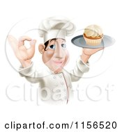 Clipart Of A Happy Chubby Chef Gesturing Okay And Holding A Cupcake On A Tray Royalty Free Vector Illustration