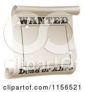 Clipart Of A Wanted Dead Or Alive Poster With Bullet Holes Royalty Free Vector Illustration by AtStockIllustration