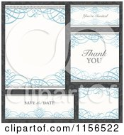 Clipart Of Ornate Blue Swirl Wedding Invitation Save The Date And Thank You Design Elements Over Gray Floral Royalty Free Vector Illustration by BestVector