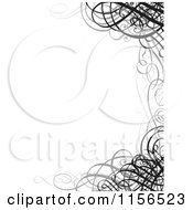 Clipart Of A Grayscale Ornate Swirl Wedding Invitation Border Royalty Free Vector Illustration
