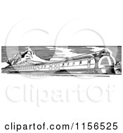 Clipart Of A Black And White Retro Train 4 Royalty Free Vector Clipart