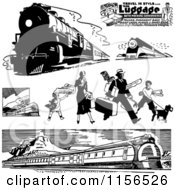 Clipart Of Black And White Retro Trains And Traveling Family Royalty Free Vector Clipart