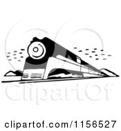 Clipart Of A Black And White Retro Train 2 Royalty Free Vector Clipart