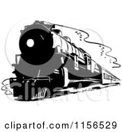 Clipart Of A Black And White Retro Train Royalty Free Vector Clipart by BestVector