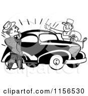 Clipart Of A Black And White Retro Man Admiring A Car Royalty Free Vector Clipart
