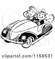 Clipart Of A Black And White Retro Couple Cruising Royalty Free Vector Clipart