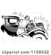 Clipart Of A Black And White Retro Man Waxing A Car Royalty Free Vector Clipart