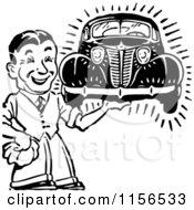 Black And White Retro Man Holding A Car