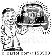 Clipart Of A Black And White Retro Man Holding A Car Royalty Free Vector Clipart