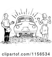 Clipart Of A Black And White Retro Man Surprising A Woman With A New Car Royalty Free Vector Clipart