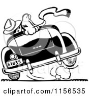 Clipart Of A Black And White Retro Couple Cruising 2 Royalty Free Vector Clipart