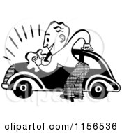 Clipart Of A Black And White Retro Man Washing A Car Royalty Free Vector Clipart