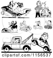 Clipart Of Black And White Retro Car Wrecks And Towing Royalty Free Vector Clipart