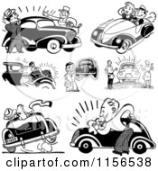 Clipart Of Black And White Retro People With Cars Royalty Free Vector Clipart