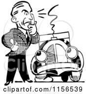 Clipart Of A Black And White Retro Man And Car With A Flat Tire Royalty Free Vector Clipart