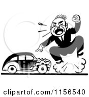 Clipart Of A Black And White Retro Man Screaming By A Wrecked A Car Royalty Free Vector Clipart by BestVector