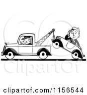 Clipart Of A Black And White Retro Tow Truck Driver And Man In A Car Royalty Free Vector Clipart