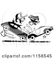 Clipart Of Black And White Retro Men In A Head On Collision Royalty Free Vector Clipart