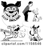 Clipart Of A Black And White Retro Man And Dogs Royalty Free Vector Clipart