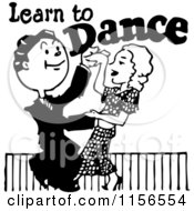 Clipart Of A Black And White Retro Couple Learning To Dance Royalty Free Vector Clipart by BestVector