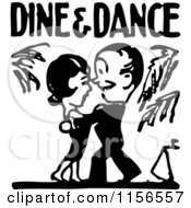 Clipart Of A Black And White Retro Couple Under Dine And Dance Text Royalty Free Vector Clipart by BestVector
