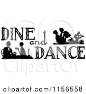 Clipart Of A Black And White Retro Dine And Dance Sign Royalty Free Vector Clipart by BestVector
