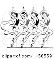 Clipart Of A Black And White Retro Group Of Dancing Women Royalty Free Vector Clipart by BestVector