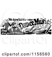Clipart Of A Black And White Retro Dance Music Banner Royalty Free Vector Clipart