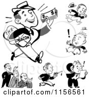 Clipart Of Black And White Retro Men Royalty Free Vector Clipart