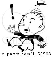 Clipart Of A Black And White Retro Surprised Man Jumping Royalty Free Vector Clipart
