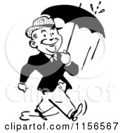 Clipart Of A Black And White Retro Man Walking With An Umbrella Royalty Free Vector Clipart