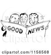 Clipart Of Black And White Retro Men Reading Good News Royalty Free Vector Clipart