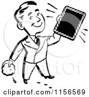 Clipart Of A Black And White Retro Man Holding A Clean Frame Royalty Free Vector Clipart
