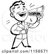 Black And White Retro Man Eating A Slice Of Pie