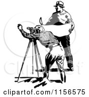 Clipart Of A Black And White Retro Construction Surveyor And Engineer Royalty Free Vector Clipart
