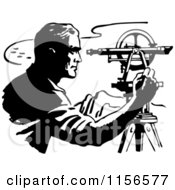 Clipart Of A Black And White Retro Surveyor Royalty Free Vector Clipart
