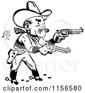 Clipart Of A Black And White Retro Western Cowboy Shooting Pistols Royalty Free Vector Clipart