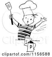 Clipart Of A Black And White Retro Chef Boy With Salt And Pepper Royalty Free Vector Clipart by BestVector