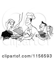 Clipart Of A Black And White Retro Chef Dad Serving His Family Royalty Free Vector Clipart