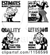 Clipart Of Black And White Retro Service And Quality Men Royalty Free Vector Clipart
