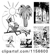 Clipart Of Black And White Retro People On Beaches Royalty Free Vector Clipart