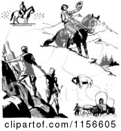 Clipart Of Black And White Retro Pioneers Hikers And Horseback Riders Royalty Free Vector Clipart by BestVector